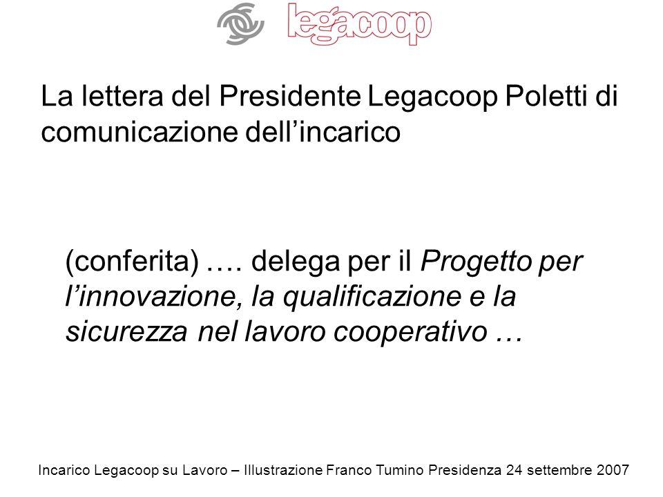 Incarico Legacoop su Lavoro – Illustrazione Franco Tumino Presidenza 24 settembre 2007 La lettera del Presidente Legacoop Poletti di comunicazione dellincarico (conferita) ….