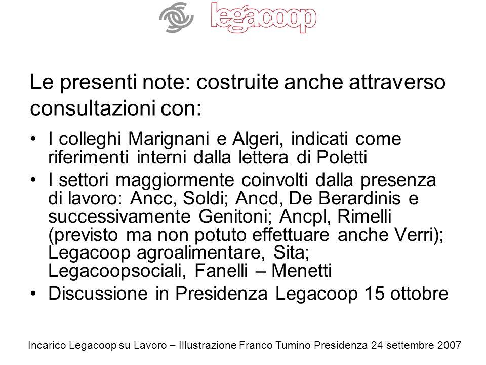 Incarico Legacoop su Lavoro – Illustrazione Franco Tumino Presidenza 24 settembre 2007 La qualità del Lavoro: una distintività cooperativa sì o no.