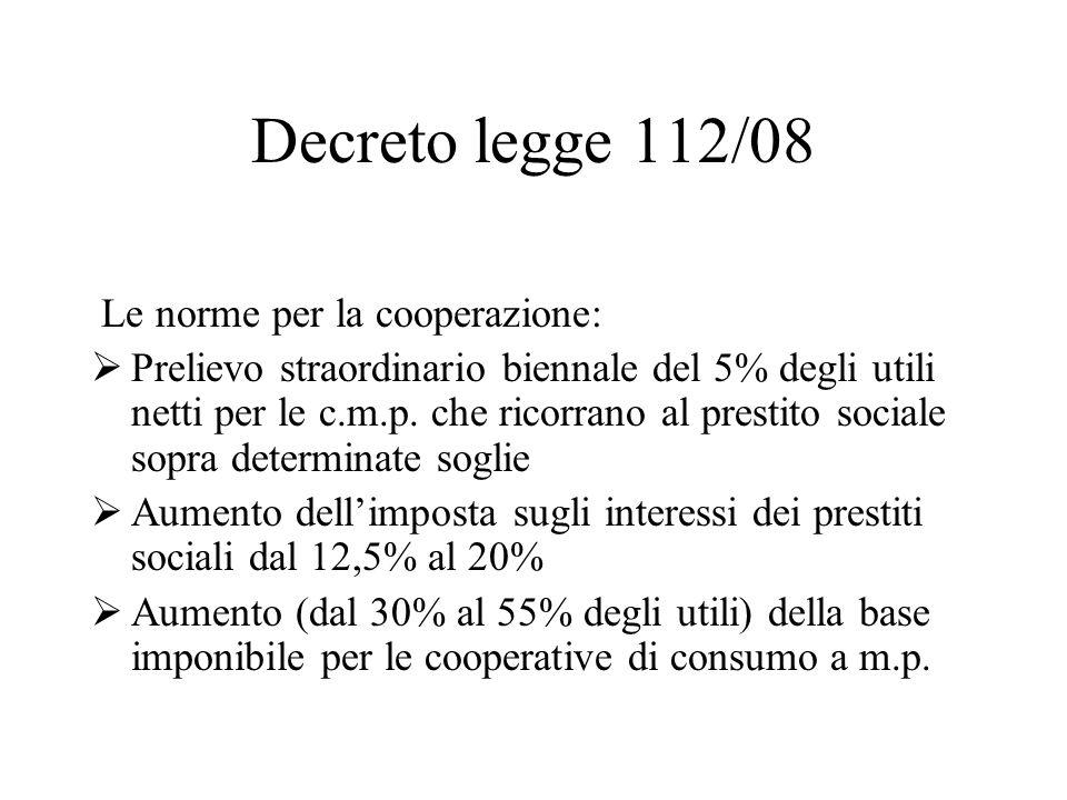 Decreto legge 112/08 Le norme per la cooperazione: Prelievo straordinario biennale del 5% degli utili netti per le c.m.p.