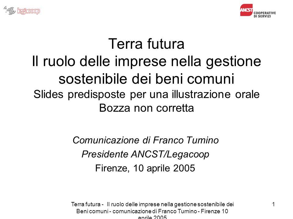 Terra futura - Il ruolo delle imprese nella gestione sostenibile dei Beni comuni - comunicazione di Franco Tumino - Firenze 10 aprile 2005 1 Terra fut