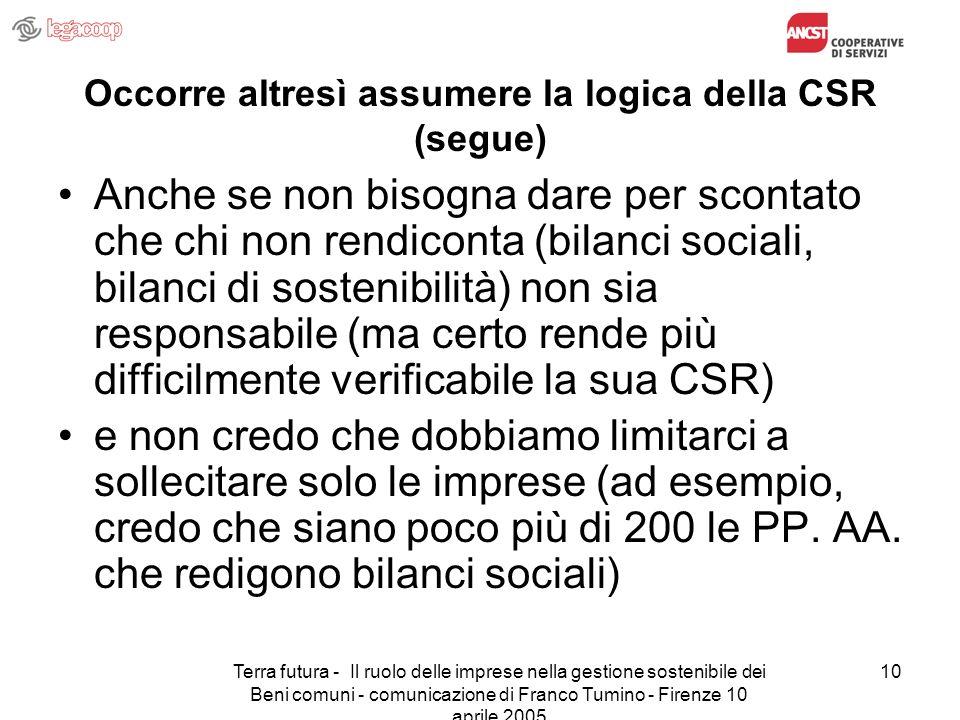 Terra futura - Il ruolo delle imprese nella gestione sostenibile dei Beni comuni - comunicazione di Franco Tumino - Firenze 10 aprile 2005 10 Occorre