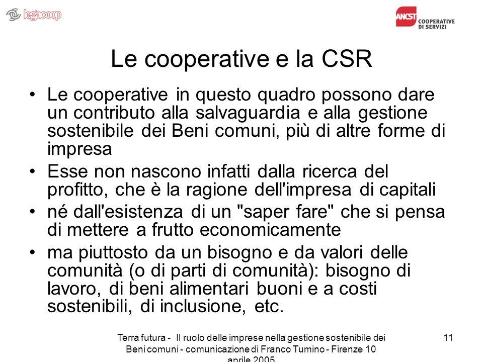 Terra futura - Il ruolo delle imprese nella gestione sostenibile dei Beni comuni - comunicazione di Franco Tumino - Firenze 10 aprile 2005 11 Le coope