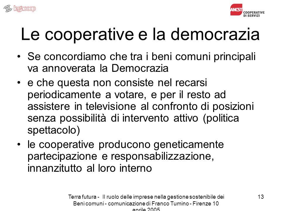 Terra futura - Il ruolo delle imprese nella gestione sostenibile dei Beni comuni - comunicazione di Franco Tumino - Firenze 10 aprile 2005 13 Le coope