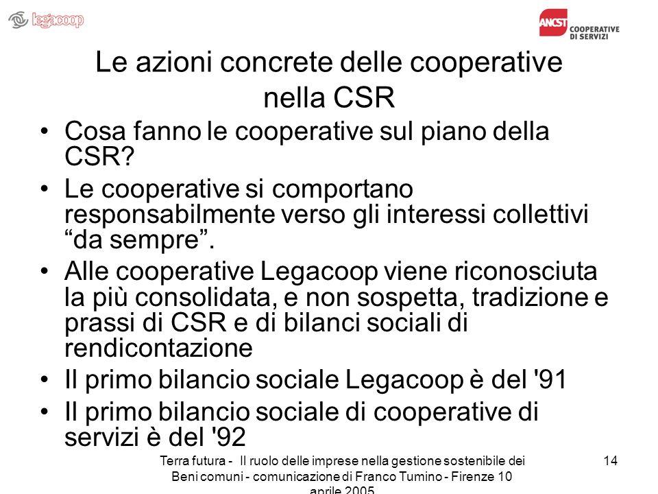 Terra futura - Il ruolo delle imprese nella gestione sostenibile dei Beni comuni - comunicazione di Franco Tumino - Firenze 10 aprile 2005 14 Le azion