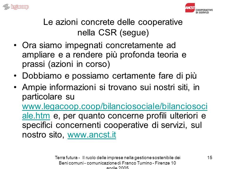 Terra futura - Il ruolo delle imprese nella gestione sostenibile dei Beni comuni - comunicazione di Franco Tumino - Firenze 10 aprile 2005 15 Le azion