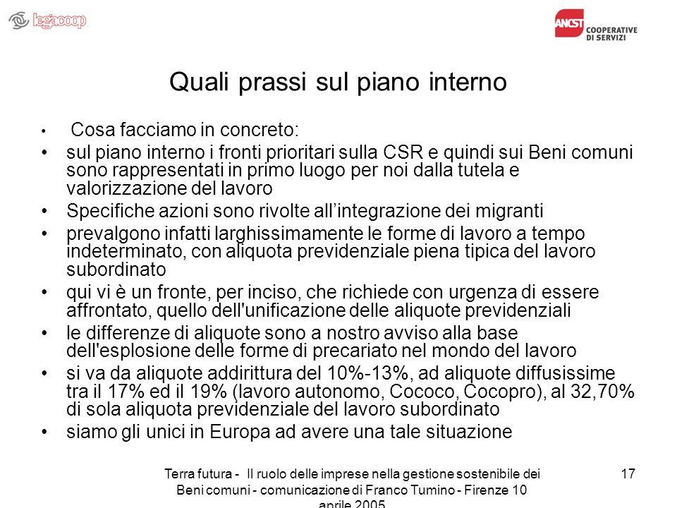 Terra futura - Il ruolo delle imprese nella gestione sostenibile dei Beni comuni - comunicazione di Franco Tumino - Firenze 10 aprile 2005 17 Quali pr