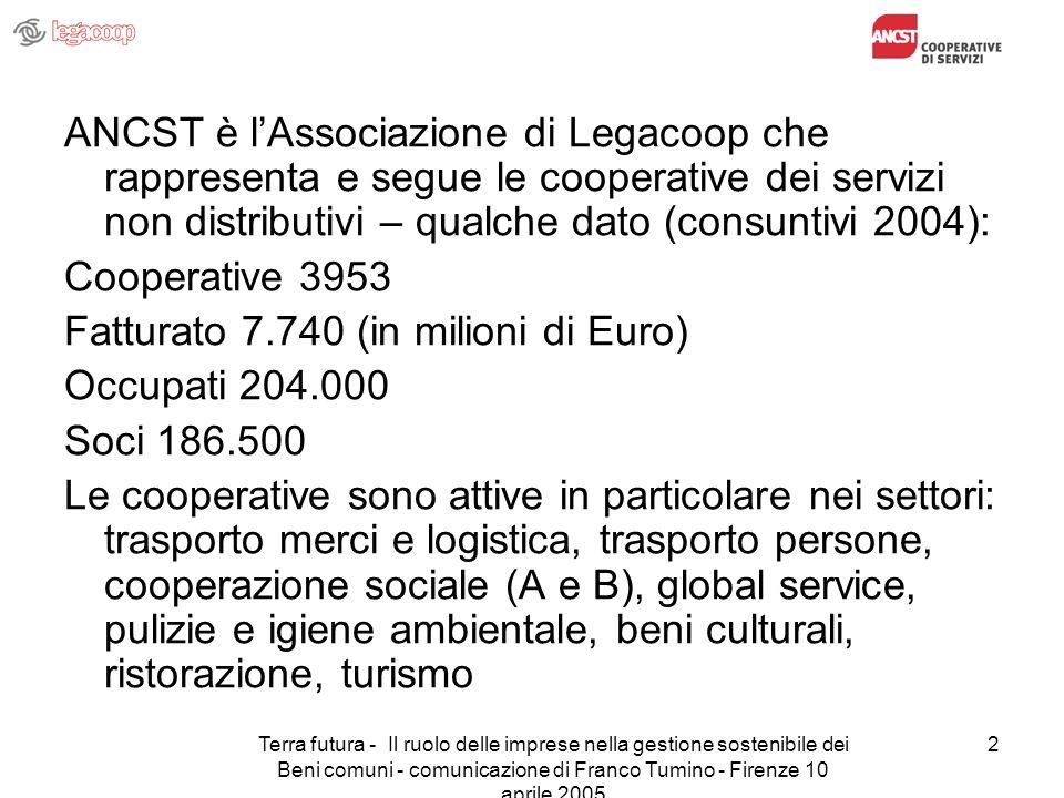 Terra futura - Il ruolo delle imprese nella gestione sostenibile dei Beni comuni - comunicazione di Franco Tumino - Firenze 10 aprile 2005 2 ANCST è l