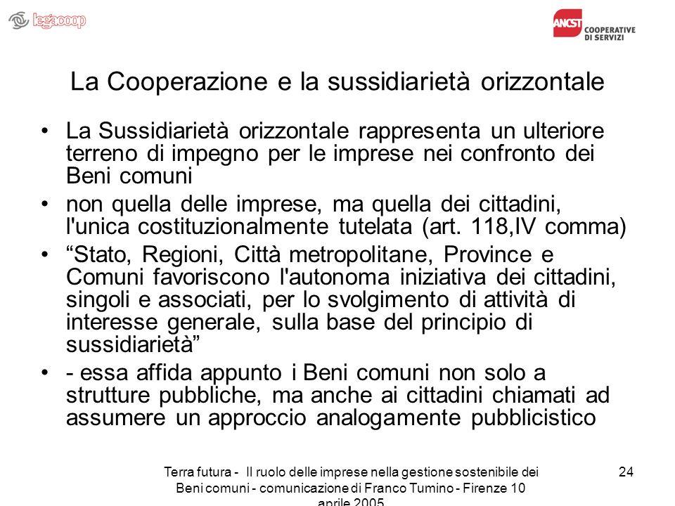 Terra futura - Il ruolo delle imprese nella gestione sostenibile dei Beni comuni - comunicazione di Franco Tumino - Firenze 10 aprile 2005 24 La Coope