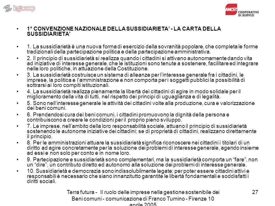 Terra futura - Il ruolo delle imprese nella gestione sostenibile dei Beni comuni - comunicazione di Franco Tumino - Firenze 10 aprile 2005 27 1° CONVE