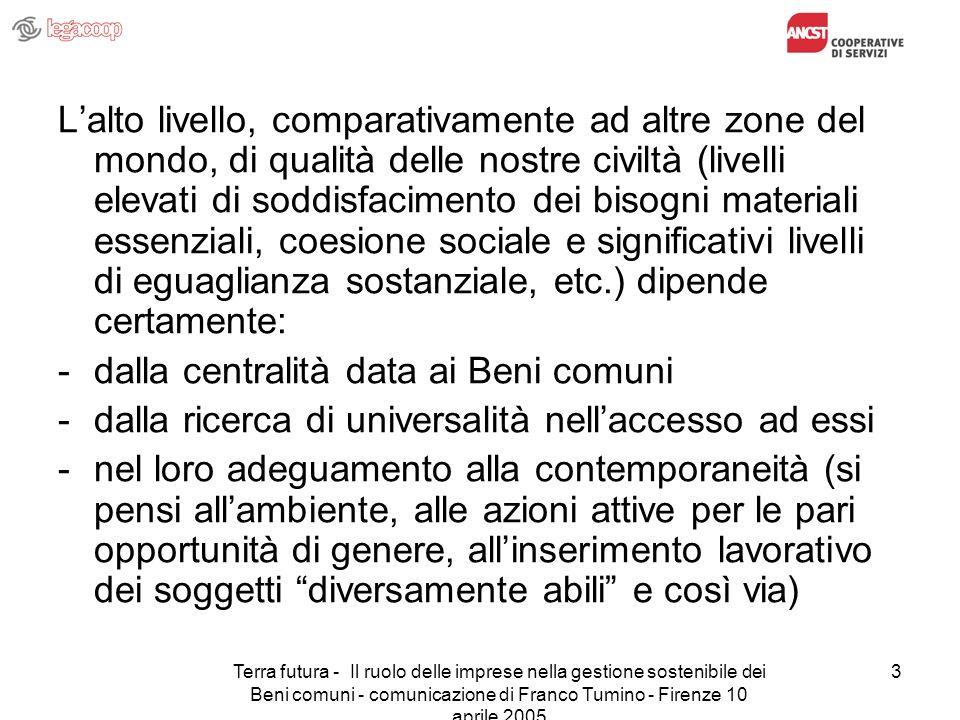 Terra futura - Il ruolo delle imprese nella gestione sostenibile dei Beni comuni - comunicazione di Franco Tumino - Firenze 10 aprile 2005 3 Lalto liv