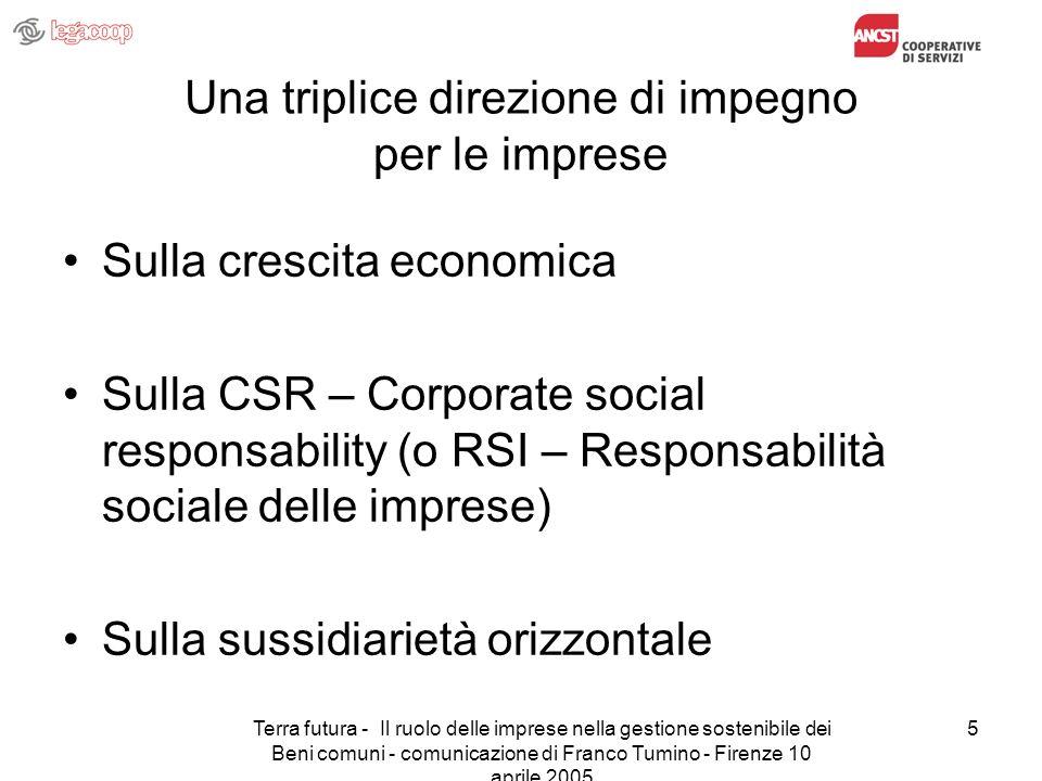 Terra futura - Il ruolo delle imprese nella gestione sostenibile dei Beni comuni - comunicazione di Franco Tumino - Firenze 10 aprile 2005 5 Una tripl