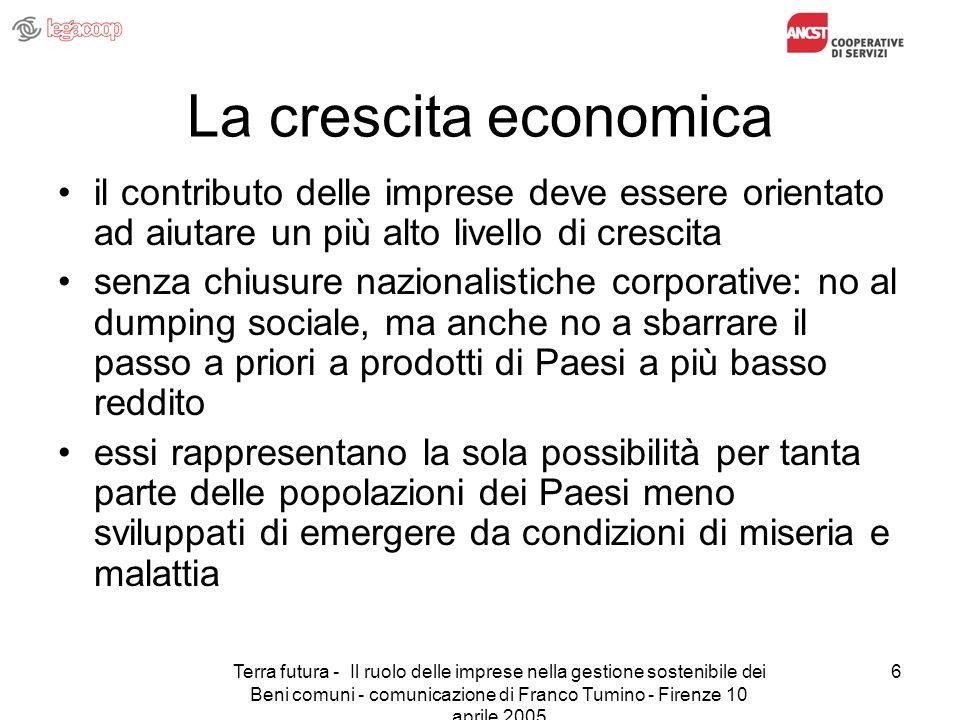 Terra futura - Il ruolo delle imprese nella gestione sostenibile dei Beni comuni - comunicazione di Franco Tumino - Firenze 10 aprile 2005 6 La cresci
