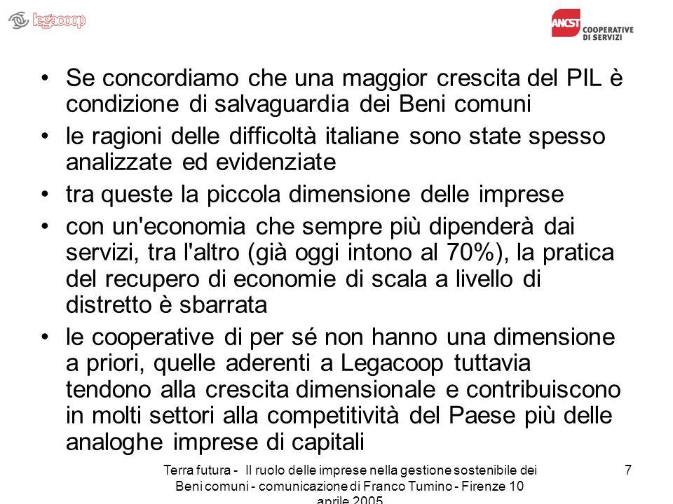 Terra futura - Il ruolo delle imprese nella gestione sostenibile dei Beni comuni - comunicazione di Franco Tumino - Firenze 10 aprile 2005 7 Se concor