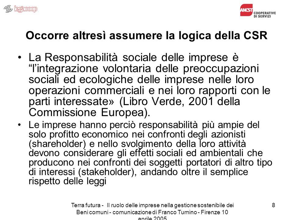 Terra futura - Il ruolo delle imprese nella gestione sostenibile dei Beni comuni - comunicazione di Franco Tumino - Firenze 10 aprile 2005 8 Occorre a