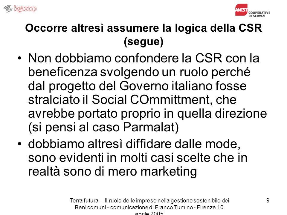 Terra futura - Il ruolo delle imprese nella gestione sostenibile dei Beni comuni - comunicazione di Franco Tumino - Firenze 10 aprile 2005 9 Occorre a
