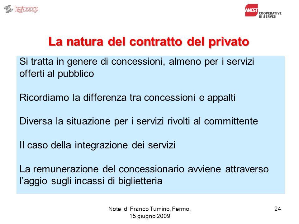 Note di Franco Tumino, Fermo, 15 giugno 2009 24 La natura del contratto del privato Si tratta in genere di concessioni, almeno per i servizi offerti a