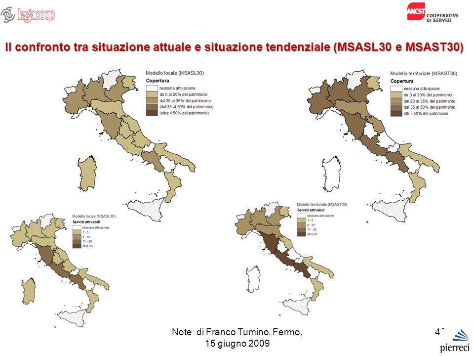 Note di Franco Tumino, Fermo, 15 giugno 2009 48 Il confronto tra situazione attuale e situazione tendenziale (MSASL30 e MSAST30)