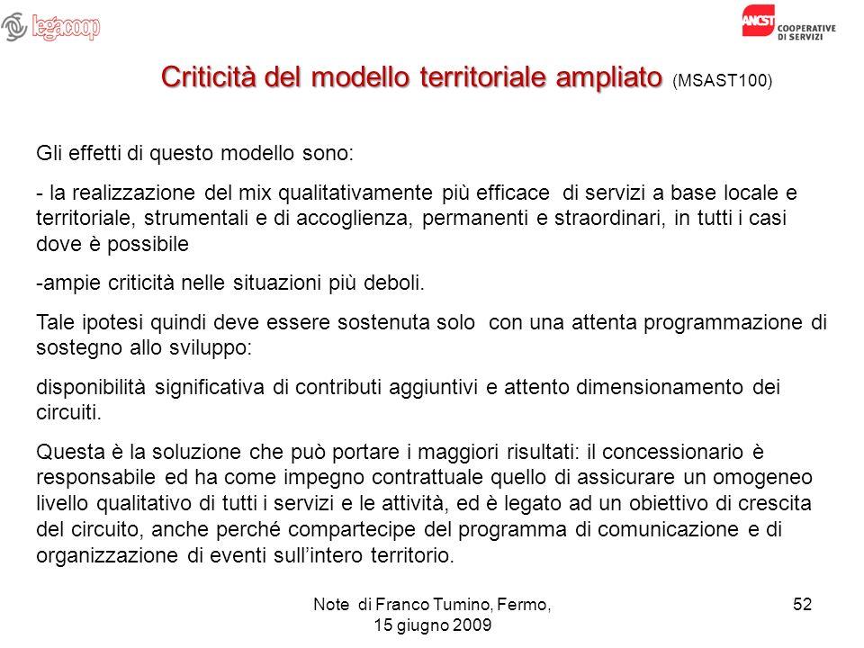 Note di Franco Tumino, Fermo, 15 giugno 2009 52 Criticità del modello territoriale ampliato Criticità del modello territoriale ampliato (MSAST100) Gli