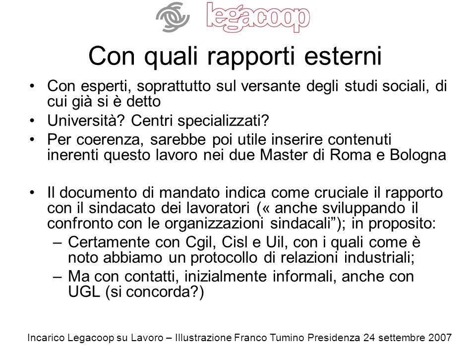 Incarico Legacoop su Lavoro – Illustrazione Franco Tumino Presidenza 24 settembre 2007 Con quali rapporti esterni Con esperti, soprattutto sul versante degli studi sociali, di cui già si è detto Università.