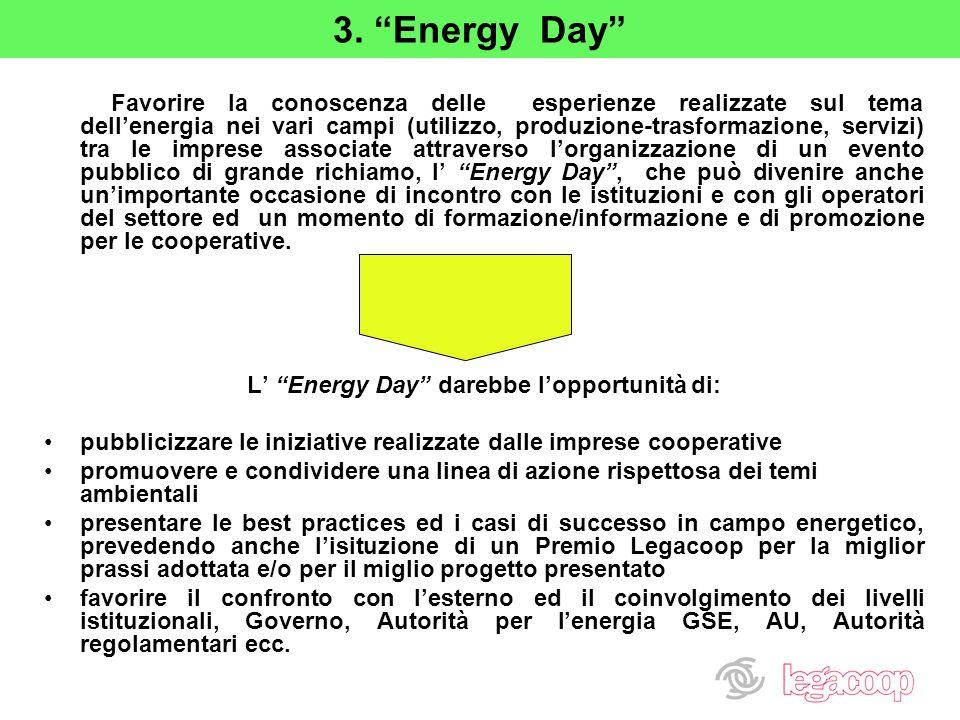 3. Energy Day Favorire la conoscenza delle esperienze realizzate sul tema dellenergia nei vari campi (utilizzo, produzione-trasformazione, servizi) tr
