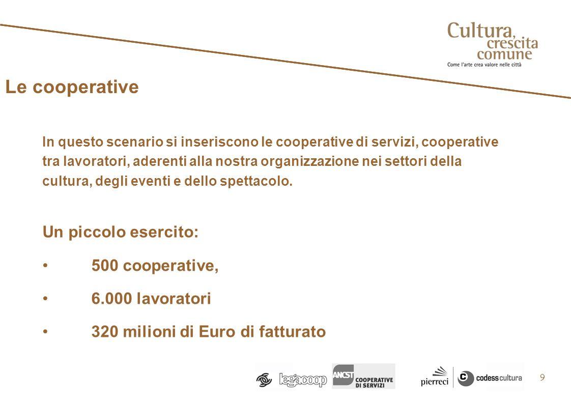9 In questo scenario si inseriscono le cooperative di servizi, cooperative tra lavoratori, aderenti alla nostra organizzazione nei settori della cultura, degli eventi e dello spettacolo.