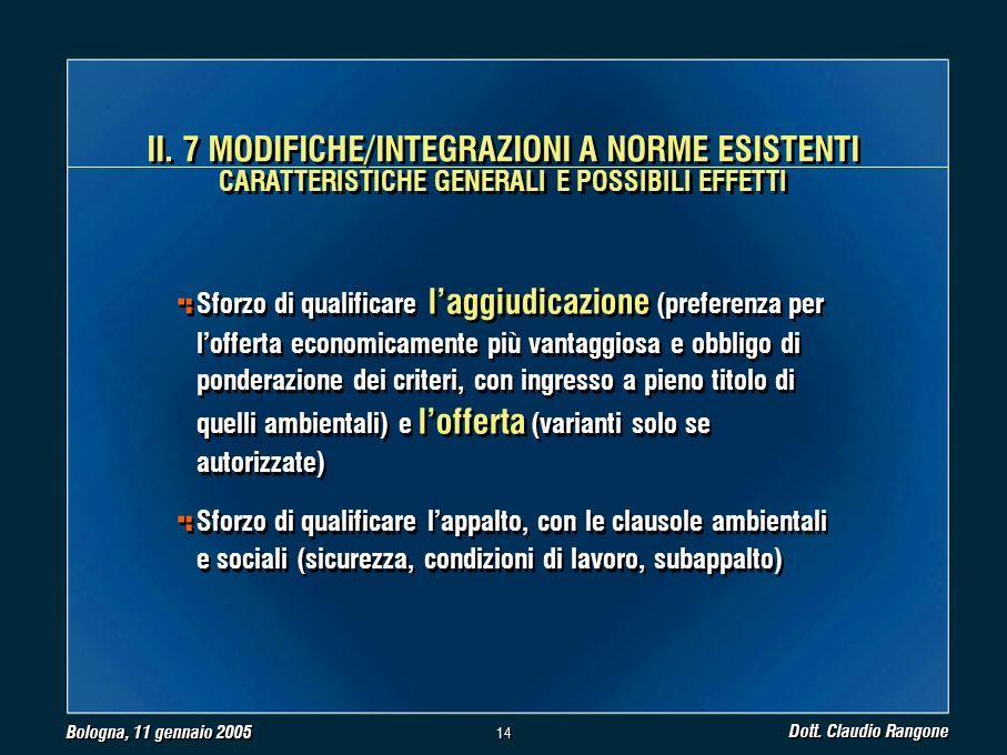 Bologna, 11 gennaio 2005 Dott. Claudio Rangone 14 II.