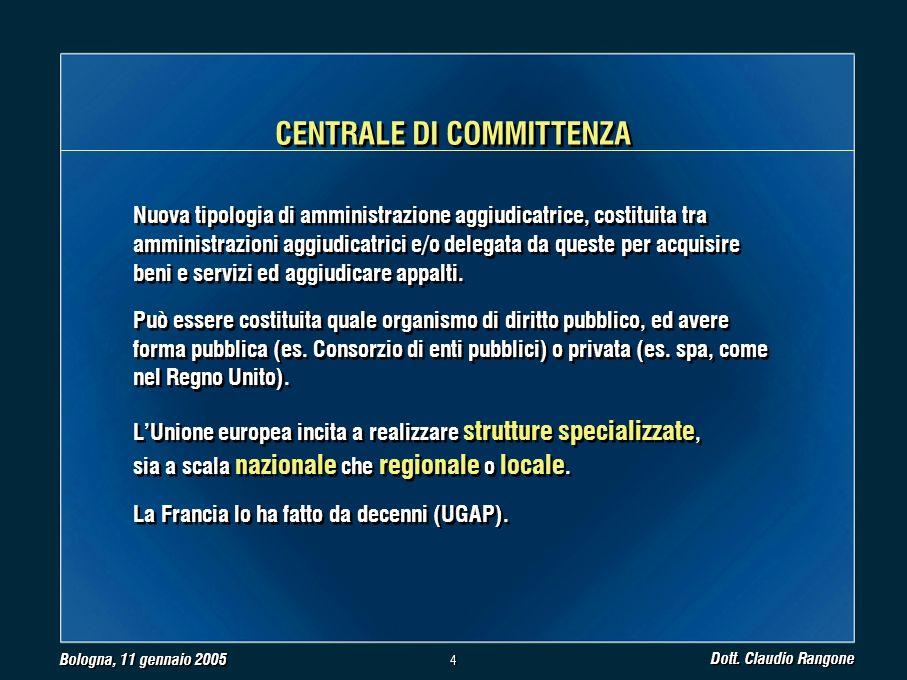 Bologna, 11 gennaio 2005 Dott.Claudio Rangone 5 5 Procedura caratterizzata da 2 fasi: 1.