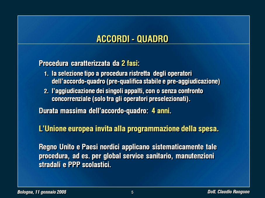 Bologna, 11 gennaio 2005 Dott. Claudio Rangone 5 5 Procedura caratterizzata da 2 fasi: 1.