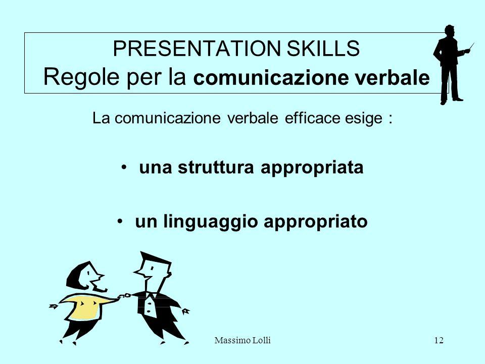 Massimo Lolli12 PRESENTATION SKILLS Regole per la comunicazione verbale La comunicazione verbale efficace esige : una struttura appropriata un linguaggio appropriato