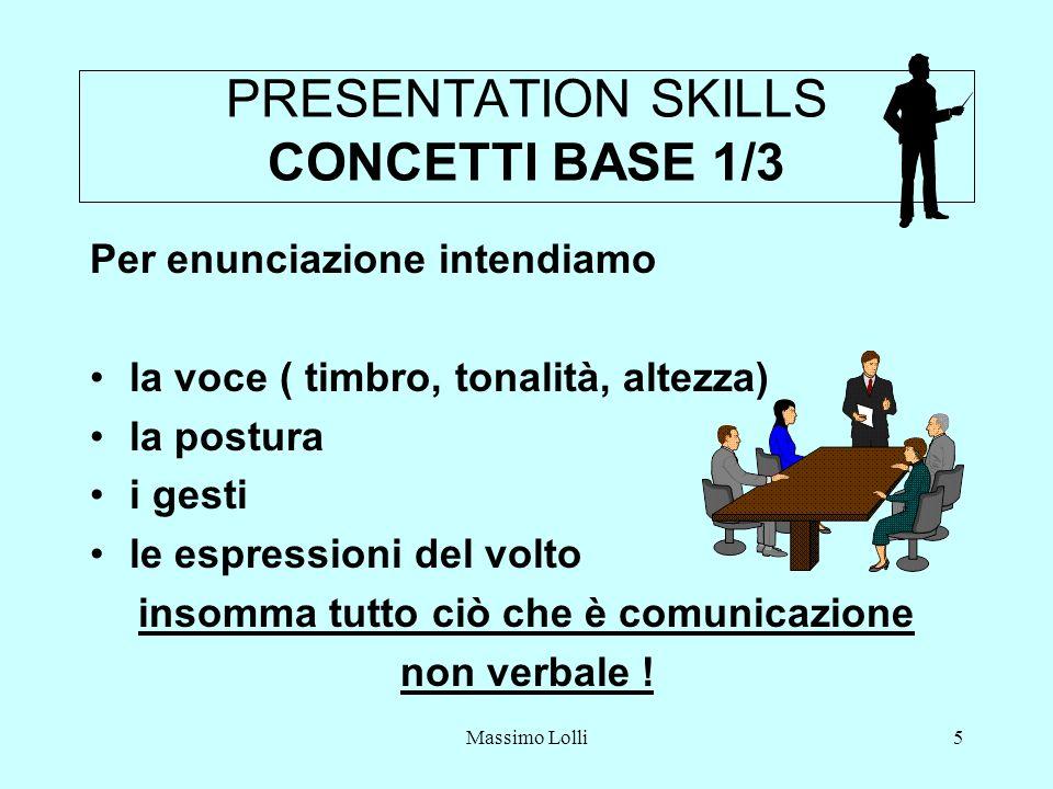Massimo Lolli5 PRESENTATION SKILLS CONCETTI BASE 1/3 Per enunciazione intendiamo la voce ( timbro, tonalità, altezza) la postura i gesti le espressioni del volto insomma tutto ciò che è comunicazione non verbale !