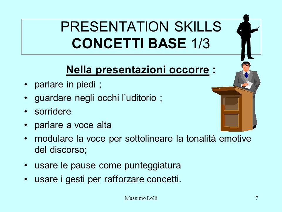 Massimo Lolli7 PRESENTATION SKILLS CONCETTI BASE 1/3 Nella presentazioni occorre : parlare in piedi ; guardare negli occhi luditorio ; sorridere parlare a voce alta modulare la voce per sottolineare la tonalità emotive del discorso; usare le pause come punteggiatura usare i gesti per rafforzare concetti.