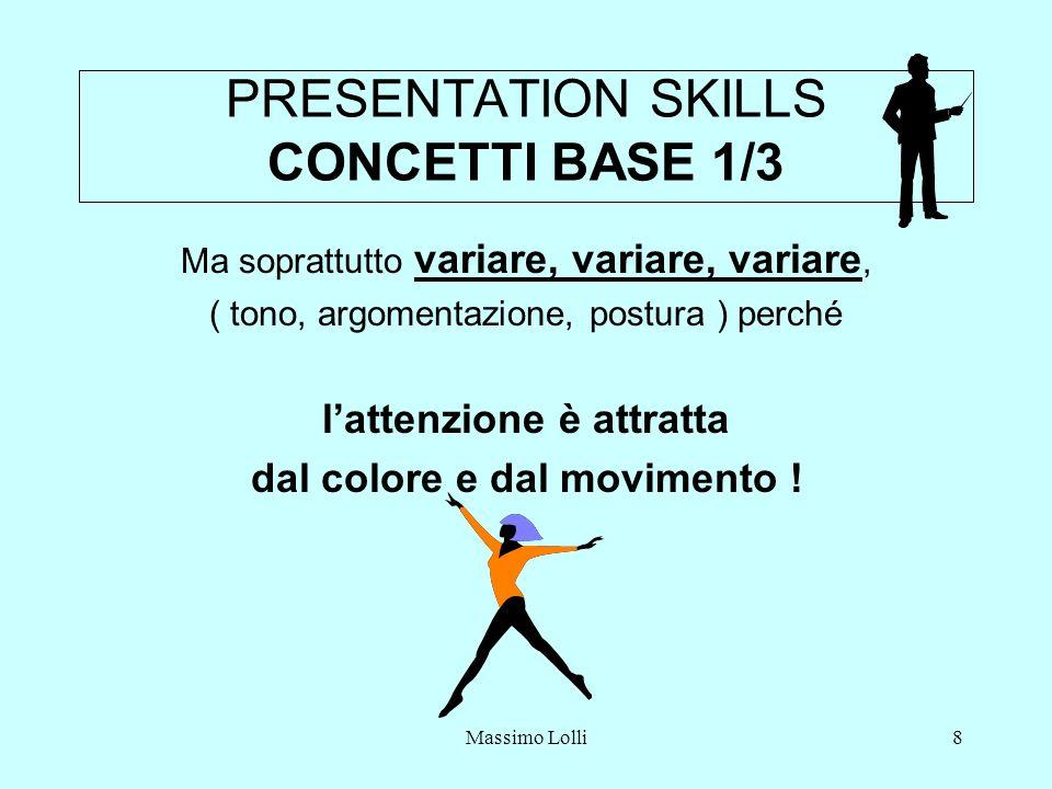 Massimo Lolli8 PRESENTATION SKILLS CONCETTI BASE 1/3 Ma soprattutto variare, variare, variare, ( tono, argomentazione, postura ) perché lattenzione è attratta dal colore e dal movimento !
