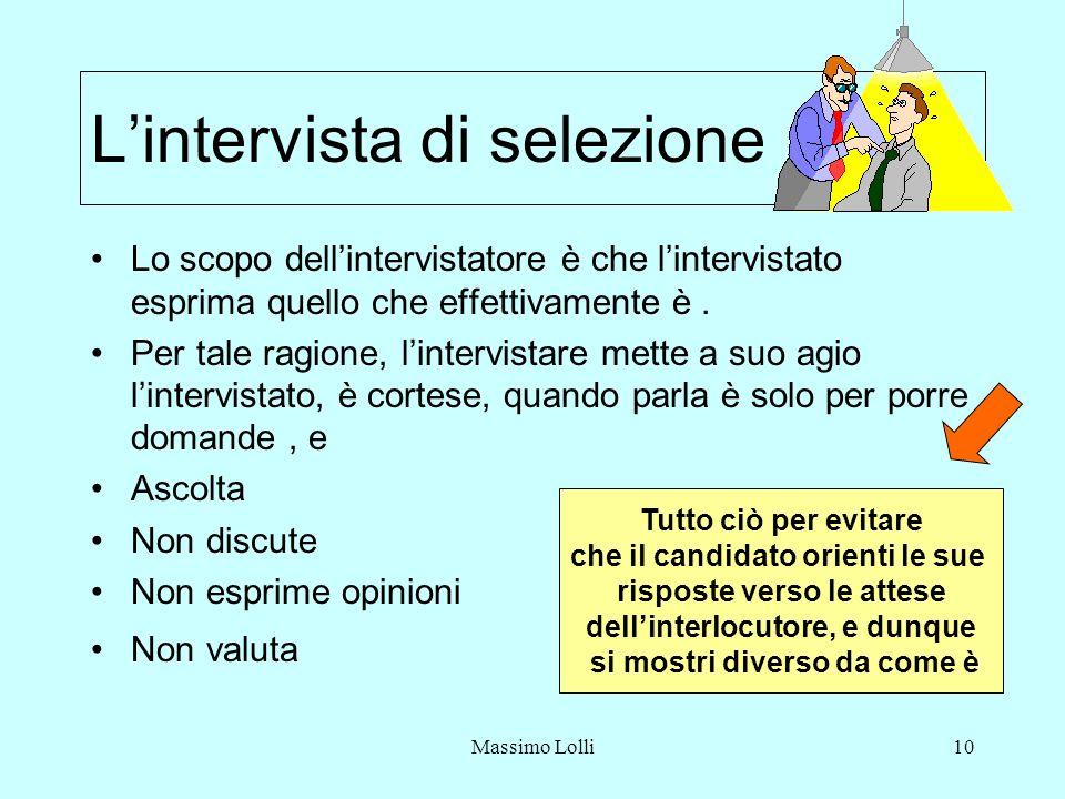 Massimo Lolli10 Lintervista di selezione Lo scopo dellintervistatore è che lintervistato esprima quello che effettivamente è. Per tale ragione, linter