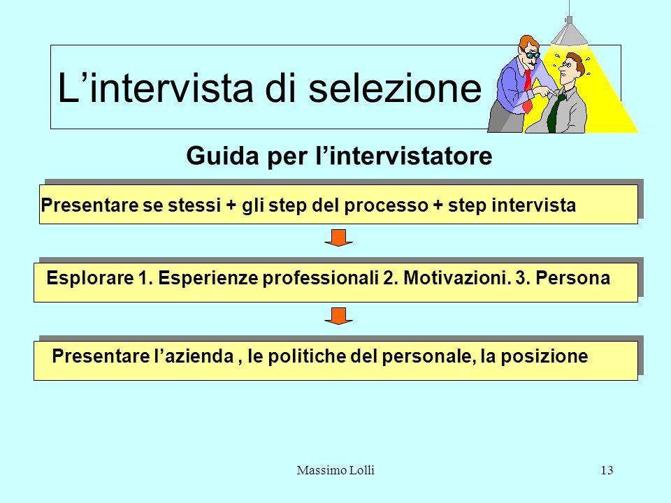 Massimo Lolli13 Lintervista di selezione Guida per lintervistatore Presentare se stessi + gli step del processo + step intervista Esplorare 1.