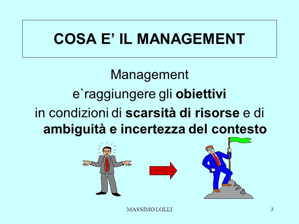 MASSIMO LOLLI3 COSA E IL MANAGEMENT Management e`raggiungere gli obiettivi in condizioni di scarsità di risorse e di ambiguità e incertezza del contes