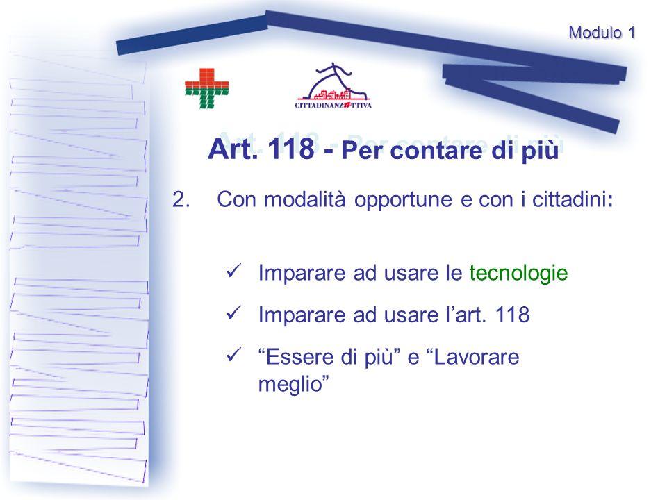 Art. 118 - Per contare di più 2.