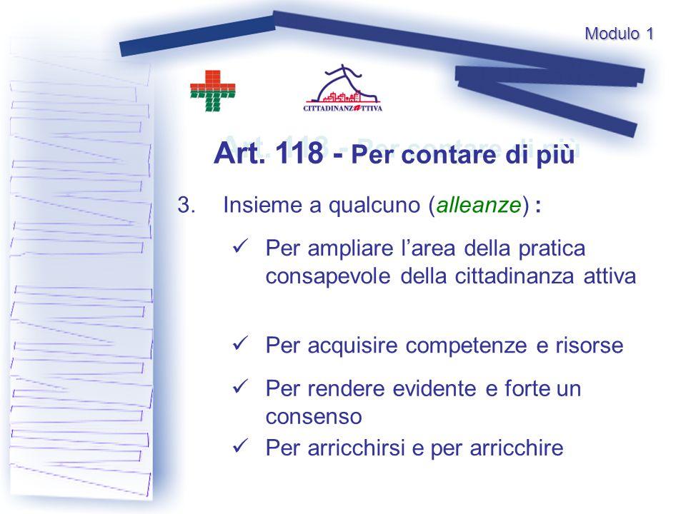 Art. 118 - Per contare di più 3.