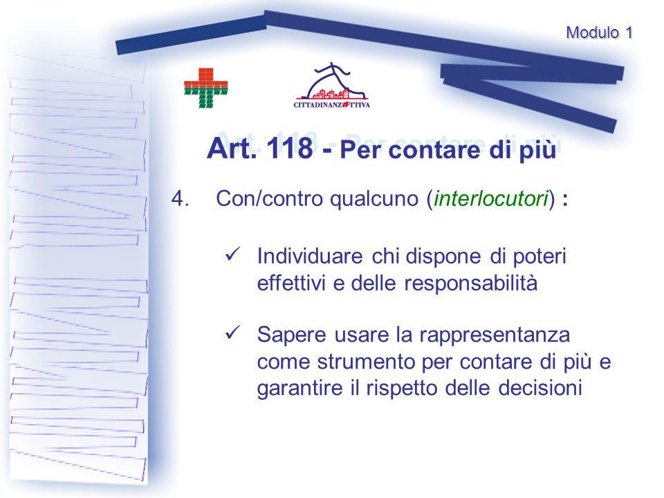 Art. 118 - Per contare di più 4.