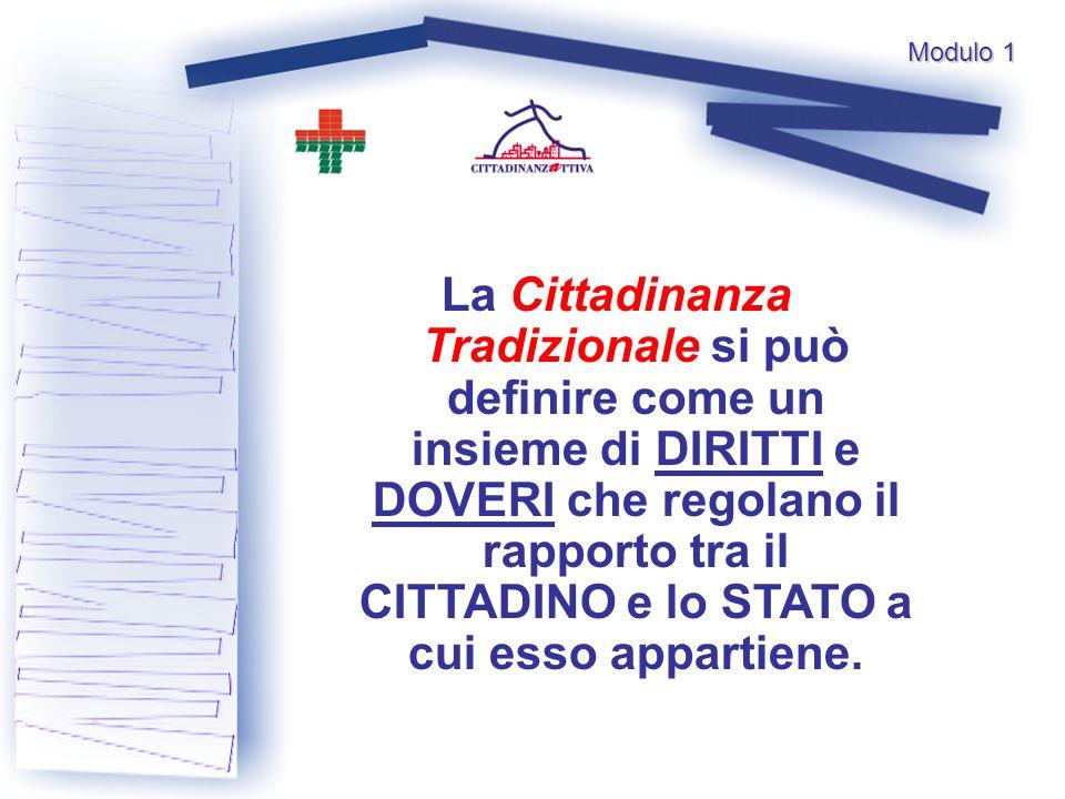 La Cittadinanza Tradizionale si può definire come un insieme di DIRITTI e DOVERI che regolano il rapporto tra il CITTADINO e lo STATO a cui esso appartiene.