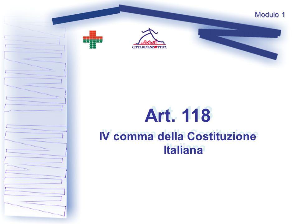 Art. 118 IV comma della Costituzione Italiana Art.
