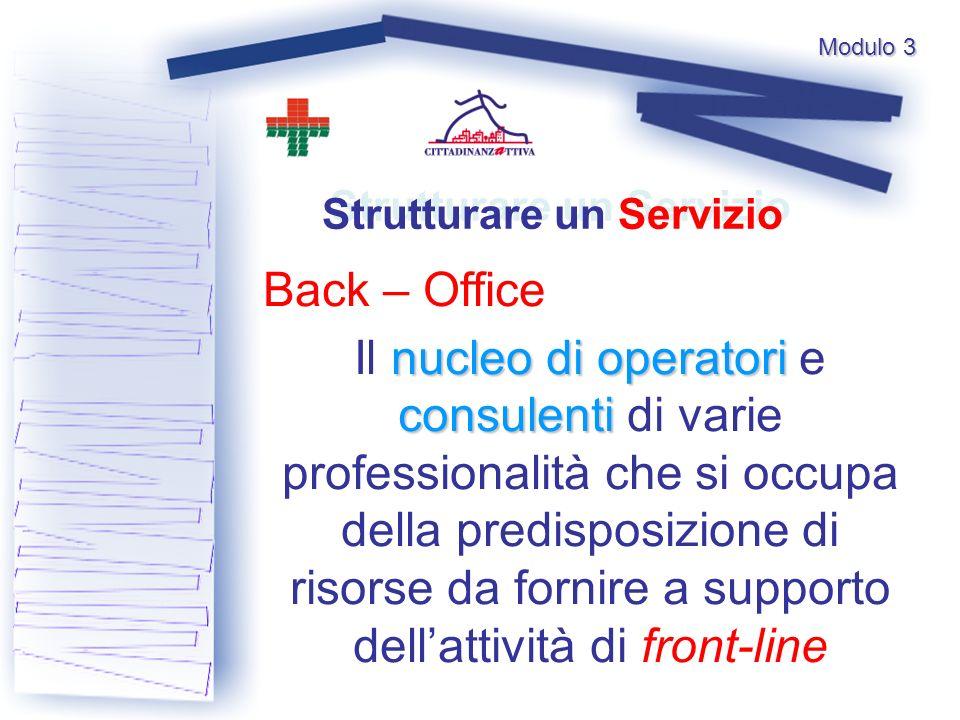 Modulo 3 Back – Office Strutturare un Servizio nucleo di operatori consulenti Il nucleo di operatori e consulenti di varie professionalità che si occupa della predisposizione di risorse da fornire a supporto dellattività di front-line