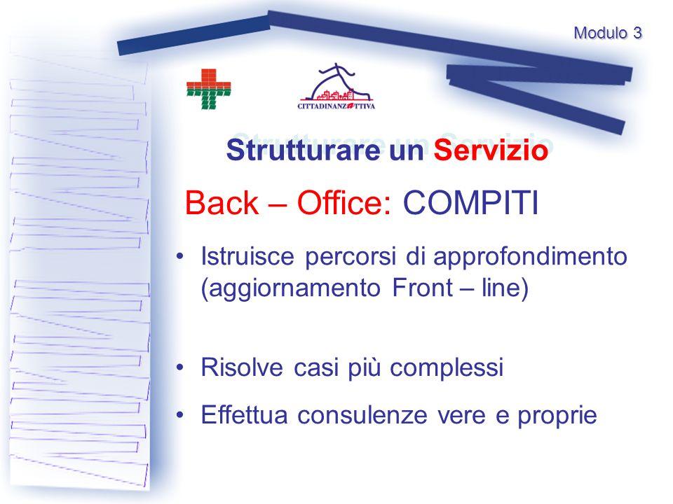 Modulo 3 Back – Office: COMPITI Strutturare un Servizio Istruisce percorsi di approfondimento (aggiornamento Front – line) Risolve casi più complessi Effettua consulenze vere e proprie