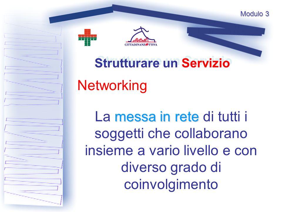 Modulo 3 Networking Strutturare un Servizio messa in rete La messa in rete di tutti i soggetti che collaborano insieme a vario livello e con diverso grado di coinvolgimento