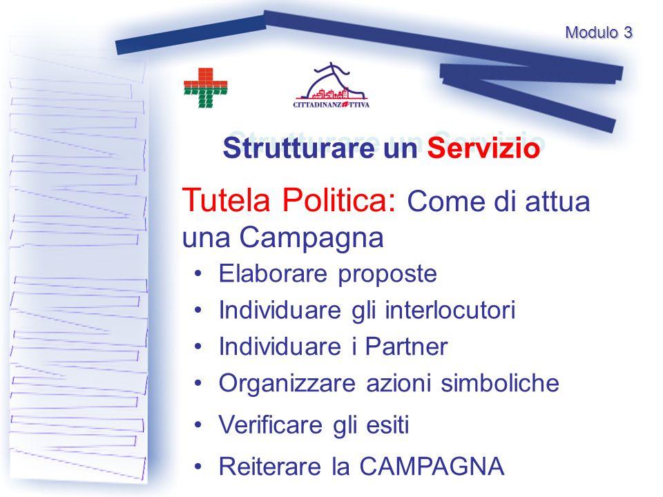 Modulo 3 Tutela Politica: Come di attua una Campagna Strutturare un Servizio Elaborare proposte Individuare i Partner Individuare gli interlocutori Organizzare azioni simboliche Verificare gli esiti Reiterare la CAMPAGNA