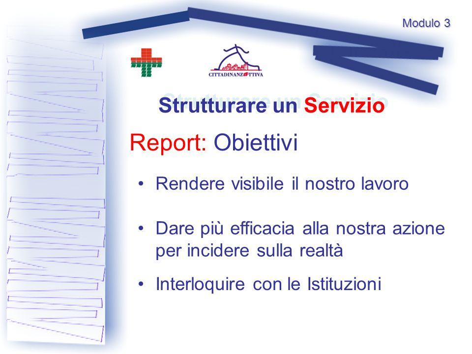 Modulo 3 Report: Obiettivi Strutturare un Servizio Rendere visibile il nostro lavoro Interloquire con le Istituzioni Dare più efficacia alla nostra azione per incidere sulla realtà