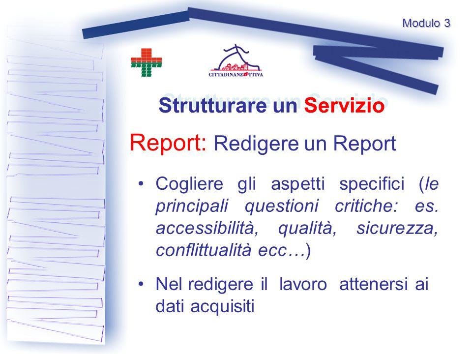 Modulo 3 Report: Redigere un Report Strutturare un Servizio Cogliere gli aspetti specifici (le principali questioni critiche: es.