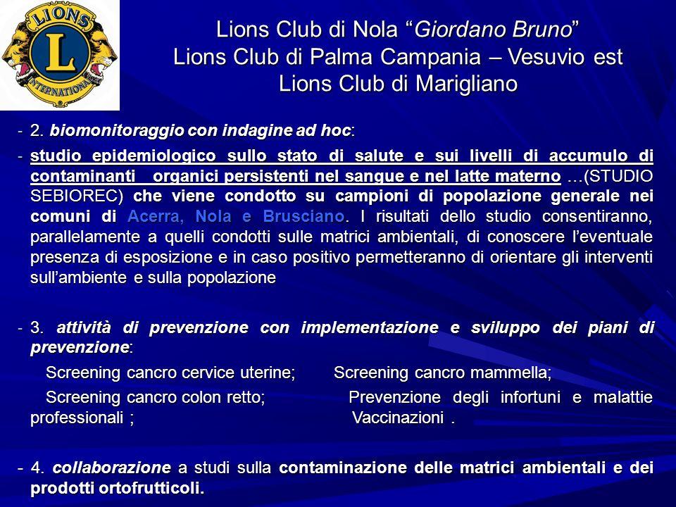 Lions Club di Nola Giordano Bruno Lions Club di Palma Campania – Vesuvio est Lions Club di Marigliano - 2. biomonitoraggio con indagine ad hoc: - stud