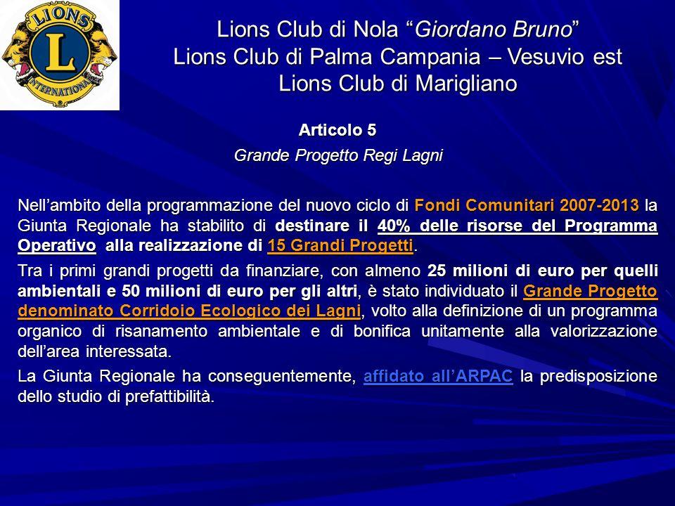 Lions Club di Nola Giordano Bruno Lions Club di Palma Campania – Vesuvio est Lions Club di Marigliano Articolo 5 Grande Progetto Regi Lagni Nellambito della programmazione del nuovo ciclo di Fondi Comunitari 2007-2013 la Giunta Regionale ha stabilito di destinare il 40% delle risorse del Programma Operativo alla realizzazione di 15 Grandi Progetti.