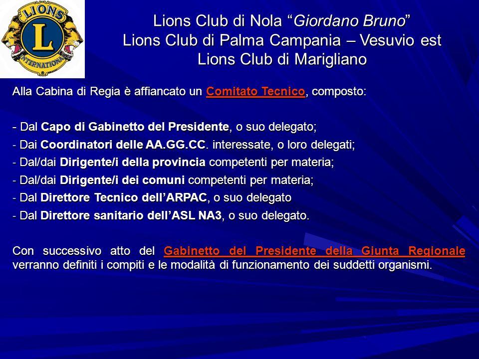 Lions Club di Nola Giordano Bruno Lions Club di Palma Campania – Vesuvio est Lions Club di Marigliano Alla Cabina di Regia è affiancato un Comitato Te