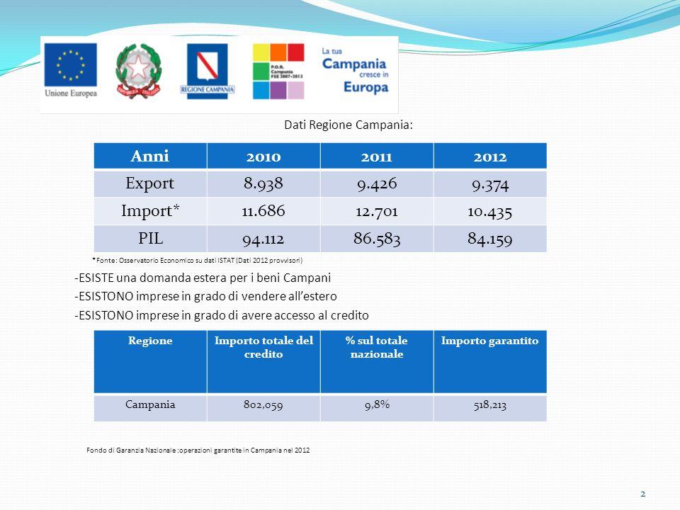 Dati Regione Campania: *Fonte: Osservatorio Economico su dati ISTAT (Dati 2012 provvisori) -ESISTE una domanda estera per i beni Campani -ESISTONO imprese in grado di vendere allestero -ESISTONO imprese in grado di avere accesso al credito Fondo di Garanzia Nazionale :operazioni garantite in Campania nel 2012 Anni201020112012 Export8.9389.4269.374 Import*11.68612.70110.435 PIL94.11286.58384.159 RegioneImporto totale del credito % sul totale nazionale Importo garantito Campania802,0599,8%518,213 2